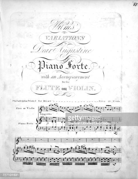 Sheet music cover image of the song 'Wilms' Variations to Dear Augustine for the Piano Forte with an Accompanyment for the Flute or Violin' with...