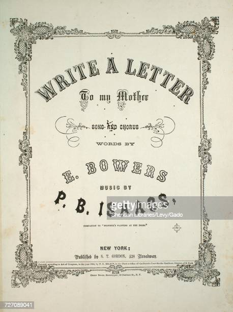 Sheet music cover image of the song 'Write a Letter to My Mother Song and Chorus Companion to 'Brother's Fainting at the Door'' with original...