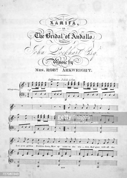 Sheet music cover image of the song 'Xarifa or The Bridal of Andallo' with original authorship notes reading 'Written by John Lockhart Esqr Music by...