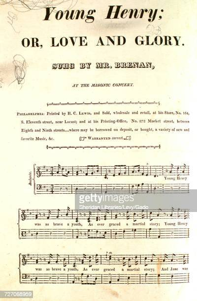 Sheet music cover image of the song ' Young Henry or Love and Glory Vale of Avoca And Air for the Flute or Violin' with original authorship notes...