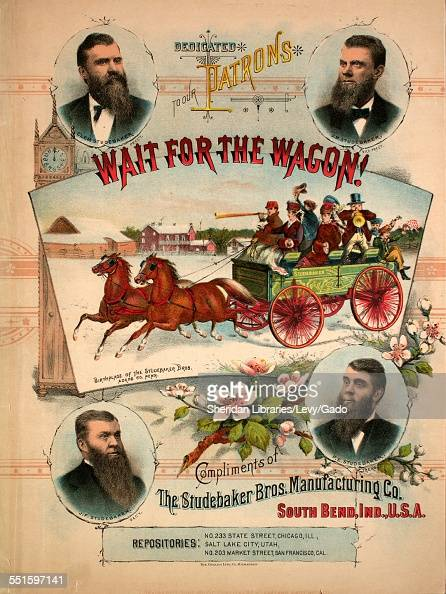 Sheet music cover image of 'Wait for the Wagon' with lithographic or engraving notes reading 'The Gugler Lithograph Co Milwaukee' South Bend Indiana...