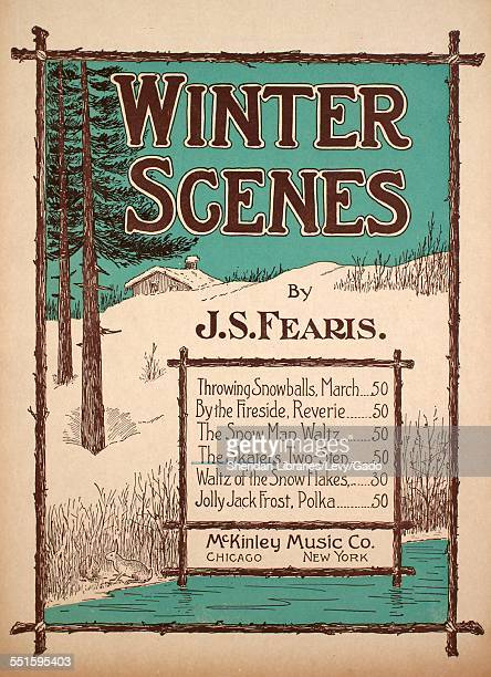 Sheet music cover image of 'Winter Scenes The Skaters TwoStep' by J S Fearis with lithographic or engraving notes reading 'Walton Process Chicago'...