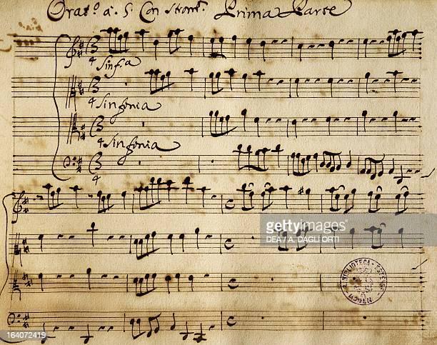 Sheet music of the Oratorio of Saint John the Baptist by Alessandro Stradella Modena Biblioteca Estense