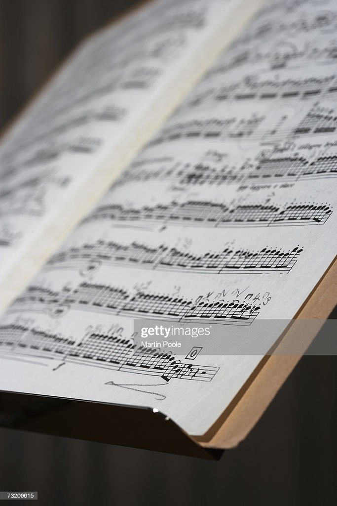 Sheet music on stand : Stock Photo