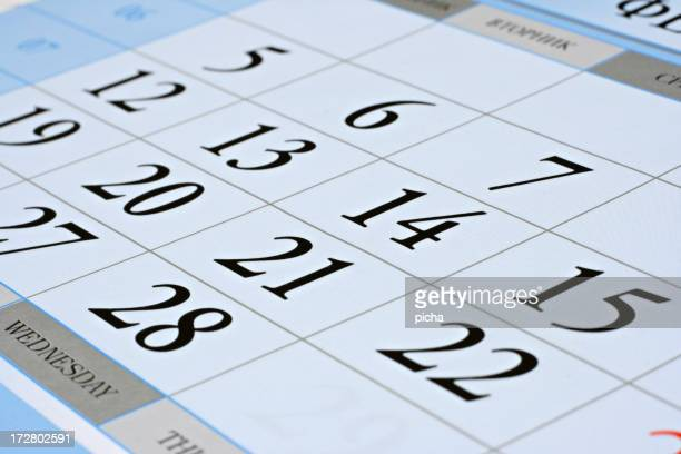 sheet of calendar