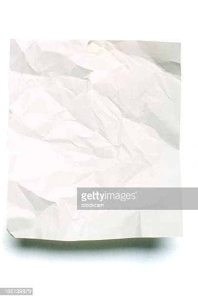 Sheet of crumpled blank note paper