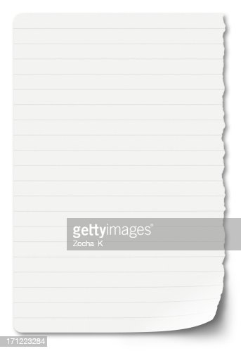sheet of notebook paper on a white background