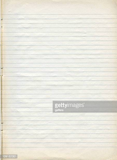 Sheet of old slightly yellowed lined note paper