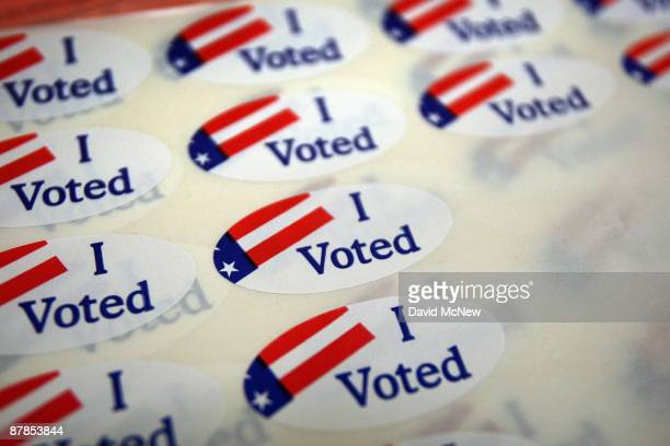 A sheet of voter stickers is seen inside Fire Station 38 as people go to the polls for a special election called by Gov Arnold Schwarzenegger and...