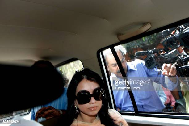 Sheetal Mafatlal after being produced at Esplanade court for allegedly carrying undisclosed jewellery and diamonds worth several lakhs of rupees in...
