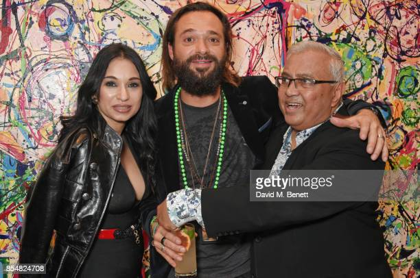 Sheetal Mafatlal Sacha Jafri and Bipin Desai attend the private view and launch of Sacha Jafri's 18 year retrospective global tour 'Universal...