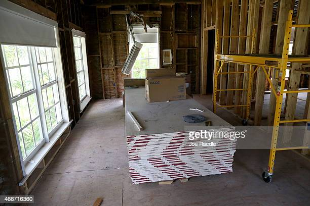 Sheetrock and other construction material is seen in the area of what ws the second floor bedroom where Al Capone spent his last days in his former...