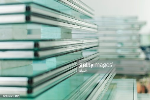 Sheets of Tempered Window Glass : Stock Photo