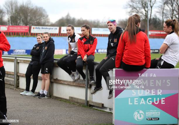 Sheffield FC Ladies relax before the WSL match between Sheffield FC Ladies and Everton Ladies on March 12 2017 in Sheffield England