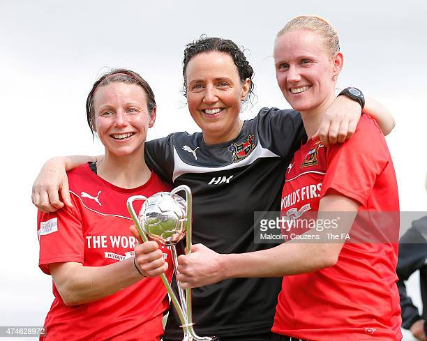Sheffield FC manager Helen Mitchell celebrates with Lisa Giampalma and Jodie Michalska following The WPL Playoff Final between Portsmouth FC Ladies...