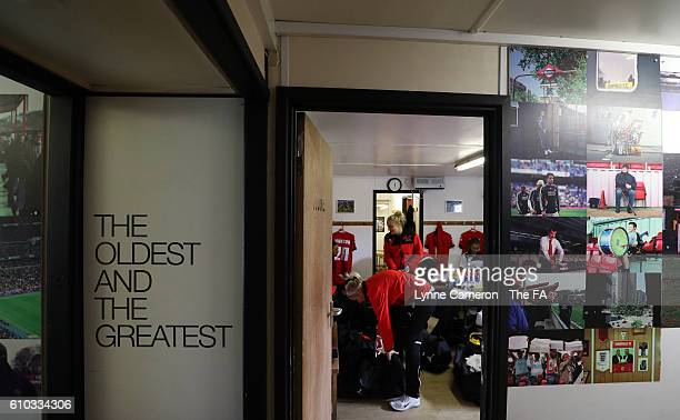 Sheffield FC team in the dressing room before the WSL 2 match between Sheffield FC Ladies and London Bees at Home of Football on September 25 2016 in...