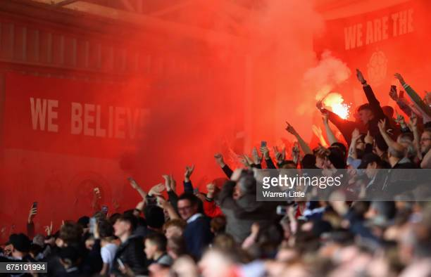 Sheffield United fans lights a flare after Kieron Freeman scores the first goal dduring the Sky Bet League One match between Sheffield United and...