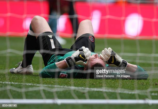 Sheffield United goal keeper Patrick Kenny lays dejected after the match during the Championship PlayOff Final at Wembley London