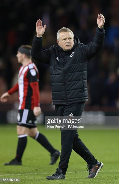 Sheffield United manager Chris Wilder applauds the home fans after the Sky Bet Championship match at Bramall Lane Sheffield