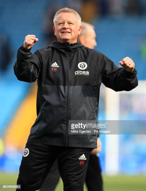 Sheffield United manager Chris Wilder celebrates victory after the Sky Bet Championship match at Hillsborough Sheffield