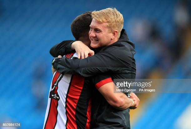 Sheffield United manager Chris Wilder celebrates with Sheffield United's George Baldock during the Sky Bet Championship match at Hillsborough...