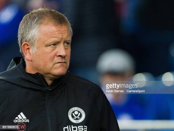 Sheffield United manager Chris Wilder during the Sky Bet Championship match between Cardiff City and Sheffield United at Cardiff City Stadium on...