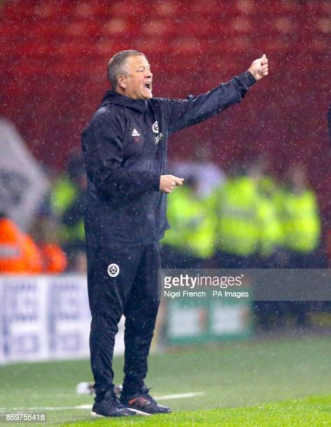 Sheffield United Manager Chris Wilder gestures on the touchline
