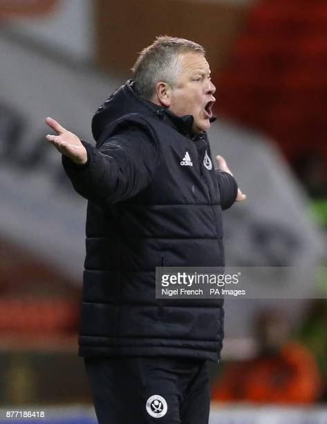 Sheffield United manager Chris Wilder gestures on the touchline during the Sky Bet Championship match at Bramall Lane Sheffield