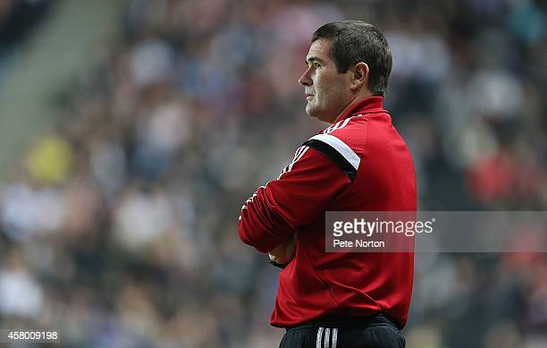 Sheffield United manager Nigel Clough looks on during the Capital One Cup Fourth Round match between MK Dons and Sheffield United at Stadium mk on...