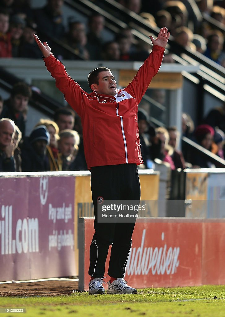 Sheffield United manager Nigel Clough reacts during the FA Cup Second Round match between Cambridge United and Sheffield United at the Abbey Stadium on December 8, 2013 in Cambridge, Cambridgeshire.