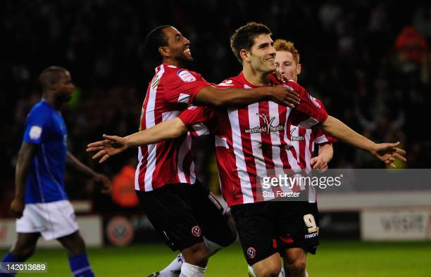 Sheffield United player Ched Evans celebrates after scoring his penalty during the npower League One game between Sheffield United and Chesterfield...