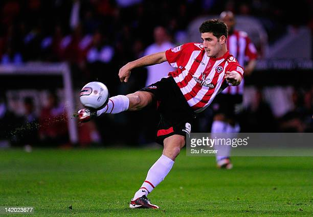 Sheffield United player Ched Evans in action during the npower League One game between Sheffield United and Chesterfield at Bramall Lane on March 28...