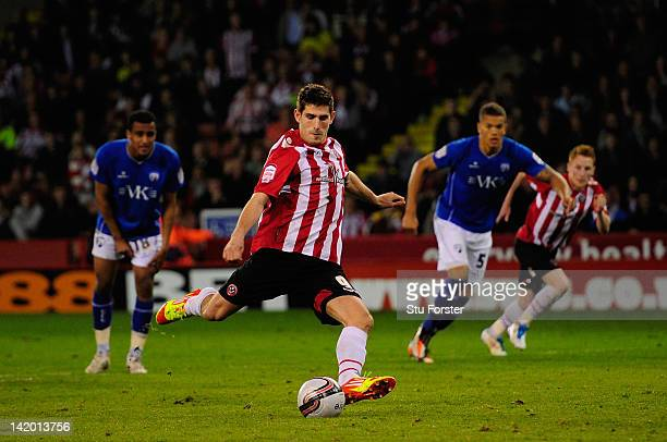 Sheffield United player Ched Evans scores his penalty during the npower League One game between Sheffield United and Chesterfield at Bramall Lane on...