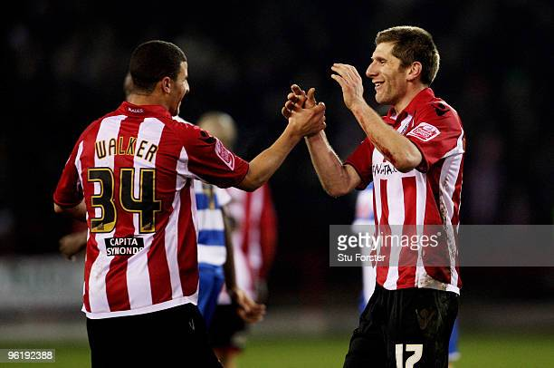 Sheffield United player Richard Cresswell celebrates with Kyle Walker after scoring the second goal during the CocaCola Championship game between...