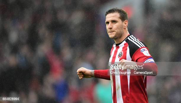 Sheffield United's Billy Sharp celebrates the win at the end of the Sky Bet League One match between Sheffield United and Charlton Athletic at...