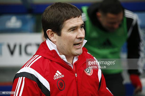 Sheffield United's English manager Nigel Clough arrives for the English FA Cup third round football match between Queens Park Rangers and Sheffield...