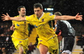 Sheffield United's English striker Shaun Miller and team mates celebrate scoring the only goal in the English FA Cup fourth round replay football...