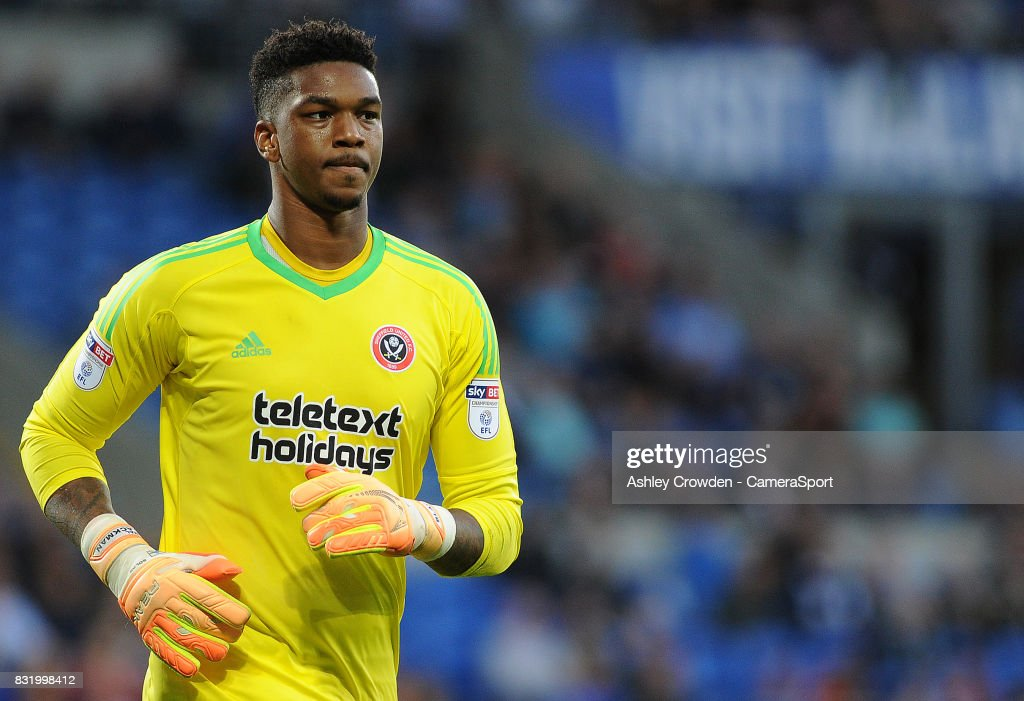 Sheffield United's Jamal Blackman during the Sky Bet Championship match between Cardiff City and Sheffield United at Cardiff City Stadium on August 15, 2017 in Cardiff, Wales.