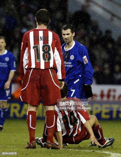 Sheffield United's Jon Harley on the ground following an incident with Leicester City's Keith Gillespie