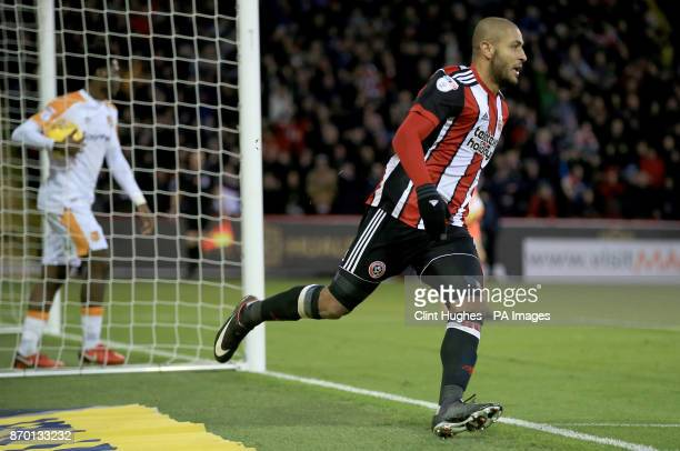 Sheffield United's Leon Clarke celebrates after he scores his sides second goal during the Sky Bet Championship match at Bramall Lane Sheffield