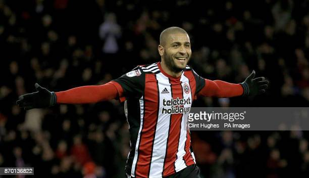 Sheffield United's Leon Clarke celebrates after he scores his sides third goal during the Sky Bet Championship match at Bramall Lane Sheffield