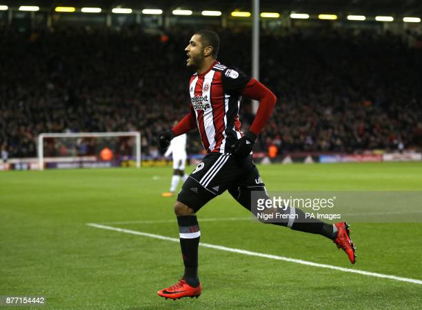 Sheffield United's Leon Clarke celebrates scoring his side's first goal of the game during the Sky Bet Championship match at Bramall Lane Sheffield