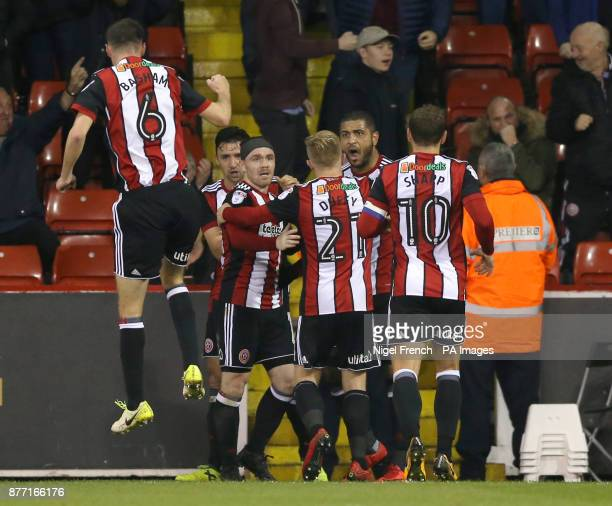 Sheffield United's Leon Clarke celebrates scoring his side's second goal of the game during the Sky Bet Championship match at Bramall Lane Sheffield