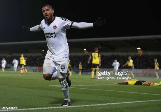 Sheffield United's Leon Clarke celebrates their third goal during the Sky Bet Championship match at The Pirelli Stadium Burton