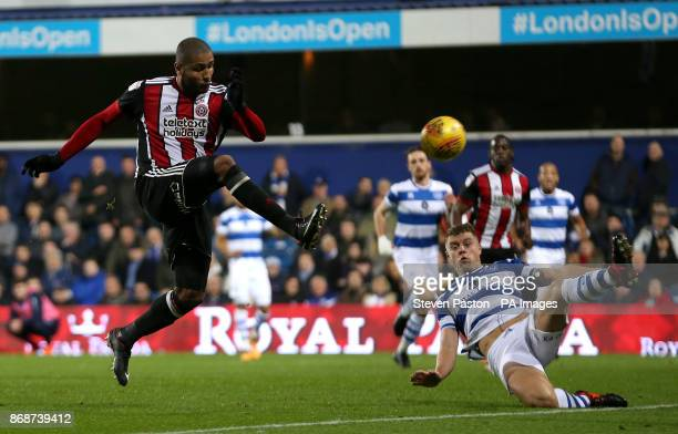 Sheffield United's Leon Clarke has a shot at goal during the game during the Sky Bet Championship match at Loftus Road London