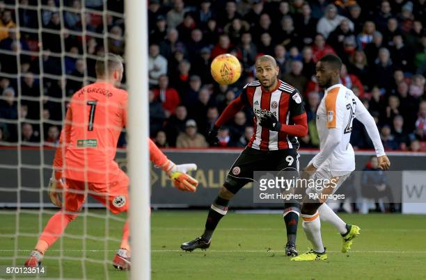 Sheffield United's Leon Clarke scores his sides first goal during the Sky Bet Championship match at Bramall Lane Sheffield