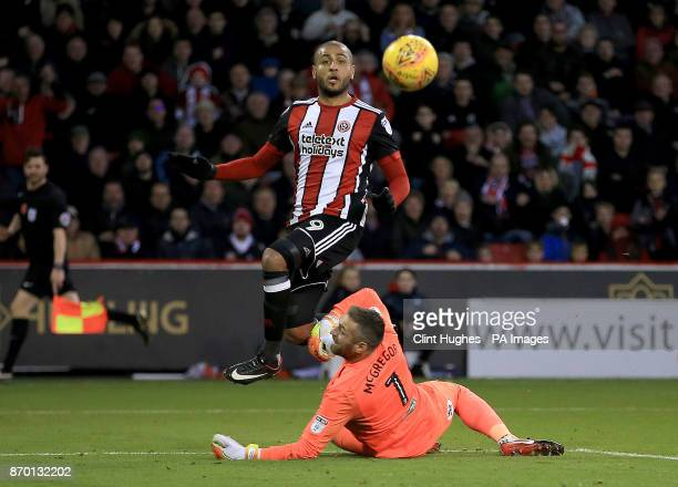 Sheffield United's Leon Clarke scores his sides second goal during the Sky Bet Championship match at Bramall Lane Sheffield