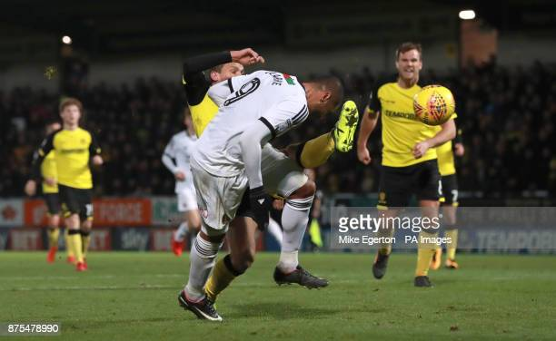 Sheffield United's Leon Clarke scores their third goal during the Sky Bet Championship match at The Pirelli Stadium Burton