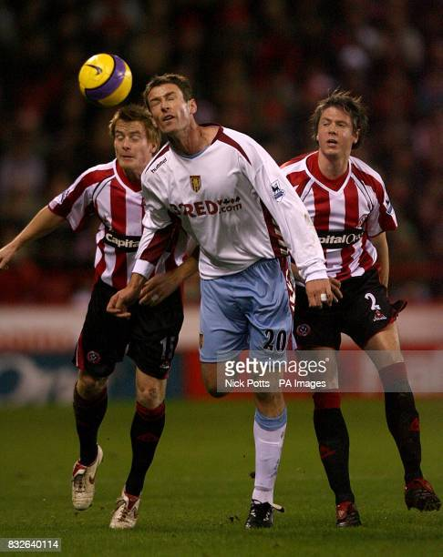 Sheffield United's Robert Kozluk and Leigh Bromby and Aston Villa's Chris Sutton