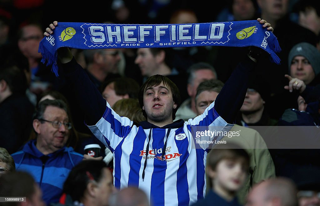 A Sheffield Wednesday fan shows his support to his team during the FA Cup with Budweiser Third Round match between Sheffield Wednesday and Milton Keynes Dons at Hillsborough Stadium on January 5, 2013 in Sheffield, England.